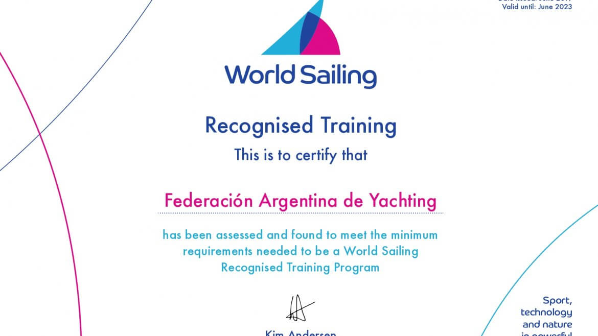 World Sailing Training Program Certificate - Certificado de Requisitos de Entrenamiento World Sailing - FAY