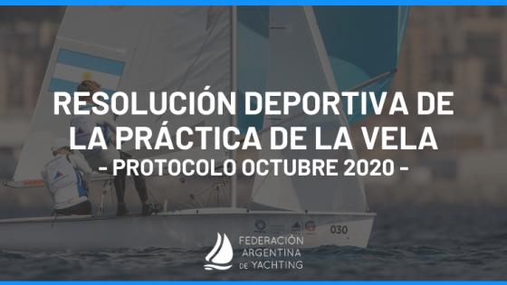 Resolución Deportiva de la Práctica de la Vela - Protocolo Octubre 2020